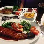 Ribs and Lobster Main & 22oz Sirloin Steak