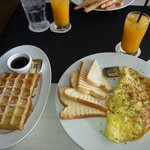 Fluffy omelet and waffle Belgium style.