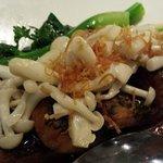 deep-fried tofu with shimeji mushrooms