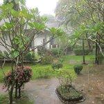 Min bungalow låg bra till, regnade ofta tidigt på morgonen.