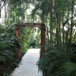 tropical tunnel leading to one pool, carved gate was pretty