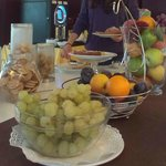 Fruit, biscuits and cakes