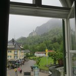 View of town and Neuschwanstein Castle from our room