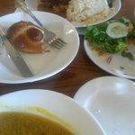 Pork Entree, Pretzel, Salad, Squash Soup