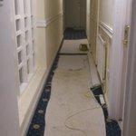 couloir et chambres en travaux
