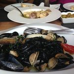 Black tagliatelle with shellfish