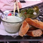 Cilantro dip and freshly made bread