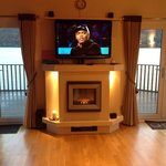 tv that hid behind the fireplace! wow!
