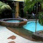 Pool spa with shower….