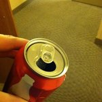 old coke can from previous guest left in fridge