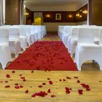 The Pavilion Room, Ben Wyvis Hotel, strewn with rose petals for our wedding on 12th October 2013