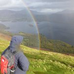 Rainbow on top of Bull Cragg looking north to Keswick and Derwent Water