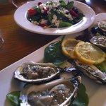 Oysters and Spinach Salad Lunch at the Keltic Lodge, Cape Breton, Nova Scotia