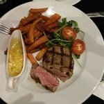 40-day medium rare fillet steak with sweet potato fries