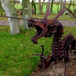 sculptures in the gardens at Dale Farm