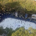 View of Bryant Park skating rink from room terrace
