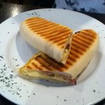 Bacon and scrambled egg panini...apparently 'the best breakfast ever' according to my daughter!