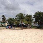 The bar on the beach and the beach sellers.