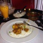 Chicken Curry, Onion Kulcha and Mango Lassi