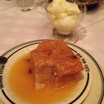 Bread pudding with whiskey sauce & pineapple sherbet