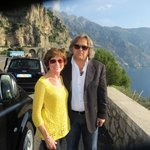 My wife and our driver along the Amalfi coast