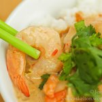Malaysian peanut sauce with prawns on steamed rice