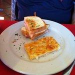 Breakfast sandwich, half eaten