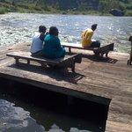 Visitors having breakfast at the Lake shore