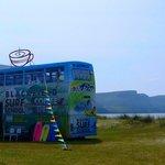 The double decker bus on keel beach !