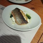 Pan fried sea bass with a courgette, fennel, mint & feta salad