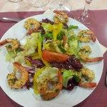 Entrée - Salade exotique et ses crevettes