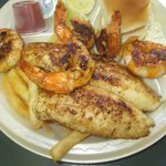 Grilled fish and shrimp plate