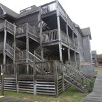 The stairs and outside porches.  Each unit has a private porch with a table and four chairs.