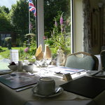 View from the dining breakfast room overlooking gardens