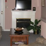 Suite sitting room, fireplace, hi-def TV