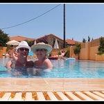 Maggi and Stu in the pool at La sirena