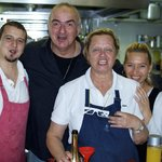 Owner, Leonardo, his wife (the Chef), and staff