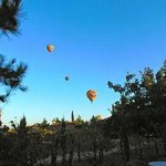 Hot Air Balloons outside our villa over vineyards
