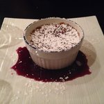 'Baileys' crème brûlée with raspberry compote