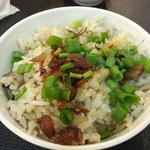 Yam rice with chunky yam cubes and chinese mushrooms inside