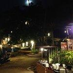 Beach restaurant at night