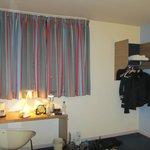 Curtains and wardrobe