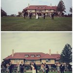 Wedding party in front of the mansion