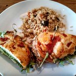 Chicken Caprese sandwich with Rice