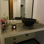 Very nice bathrooms. Notice the incense burner that was filled daily with aromatic essential oil