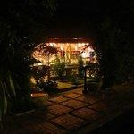 Dining/cafe/restaurant area adjacent the pool