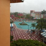 rainy day view of pool