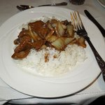 Main course; beef curry and boiled rice