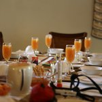 breakfast tables set beautifully every day. We have added birthday banner.
