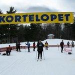 Finish of the xc ski race at Telemark Lodge